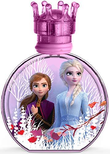 Air-Val Disney Frozen II Eau de toilette en spray naturel Anna & Elsa dans un joli flacon en verre avec bouchon couronne, 100 ml
