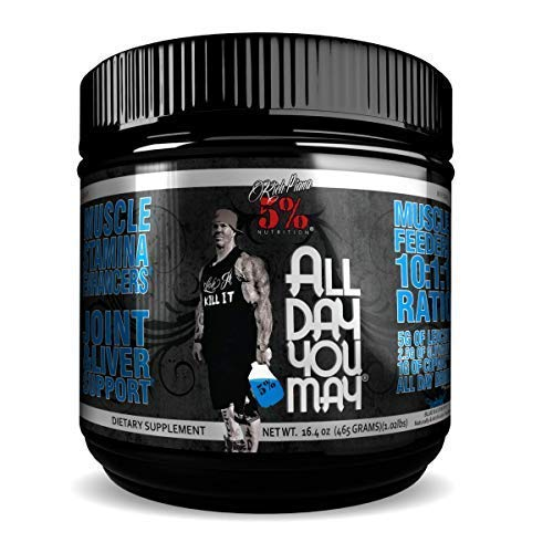 Rich Piana 5% Nutrition All Day You May 10:1:1 BCAA Post Workout Muscle & Joint Recovery Drink Supplement Powder, Essential Amino Acids, Creatine, Sugar-Free, 16.4 oz 30 Servings (Blue Raspberry)