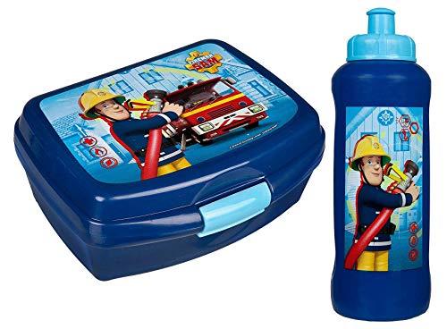 Brotdose mit Trinkfalsche Set Lunchbox Kinder Schule Pausenset Lunchset Dose: Farbe: Feuerwehrmann Sam