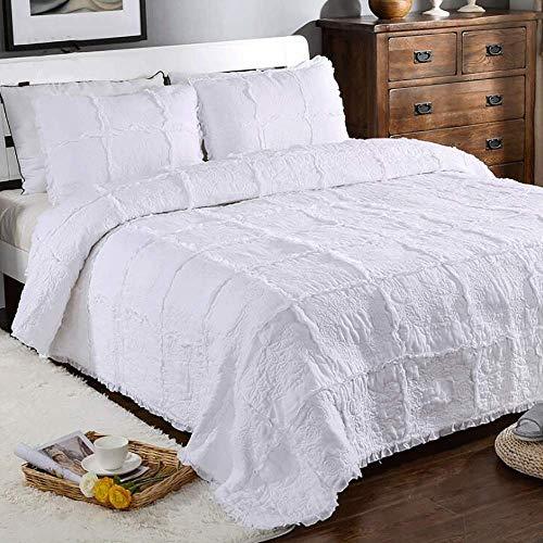 Tagesdecken Bettüberwurf White Rose Garland Handgefertigte Gesteppte Bedspread Decke 3 Stück 100prozent Baumwolle Stickerei Multifunktions King Size Tagesdecke (230x250cm) Mit 2 Kissenbezügen (50x70cm)