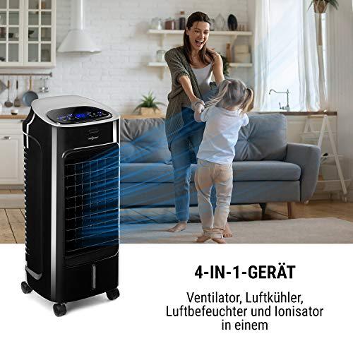 oneConcept Coolster - Klimaanlage, 4-in-1: Luftkühler, Ventilator, Ionisator und Luftbefeuchter, 320 m³/h Luftstrom, zuschaltbarer Oszillation, Abschalt-Timer bis 9 h, Touch-Bedienung, mattschwarz