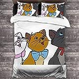 N \ A Aristocats - Juego de ropa de cama de 3 piezas, 100% lavado, decoración sencilla para el hogar, textil para dormitorio, 201 x 170 cm