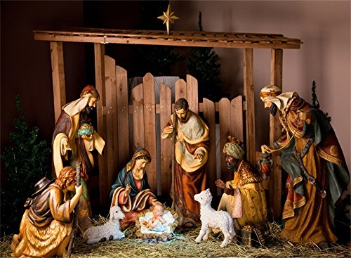 CSFOTO 7x5ft Full Size Nativity Scene Backdrop Christmas Background for Photography Religion Jesus Christ Baby Shower Decor Newborn Baby Photo Wallpaper