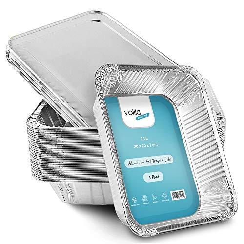 Teglie alluminio usa e getta, contenitori da cucina di alluminio per alimenti, per cucinare al forno, conservare o congelare alimenti, monouso, con coperchio (5 pezzi)