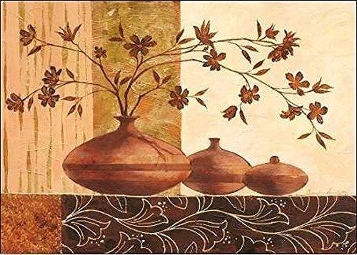Rahmen-Kunst Keilrahmen-Bild - Claudia Ancilotti: Piombino Leinwandbild Stillleben modern floral braun (70x100)