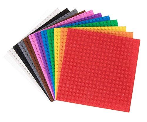 Pack de 12 Bases para Construir - Compatibles con Todas Las Grandes Marcas - 15,24 x 15,24 cm - Verde, Azul, Transparente, marrón, Gris y más