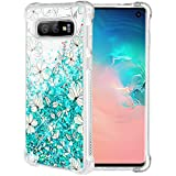 Caka Case for Galaxy S10e Floral Glitter Case Flower Pattern Series Luxury Fashion Bling Flowing Liquid Floating Sparkle Glitter Soft TPU Case for Samsung Galaxy S10e (Teal Vine)