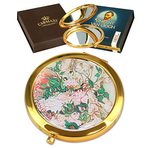 """CARMANI - Poche en bronze plaqué or, compacte, voyage, miroir décoré avec peinture Van Gogh""""roses dans un vase"""""""