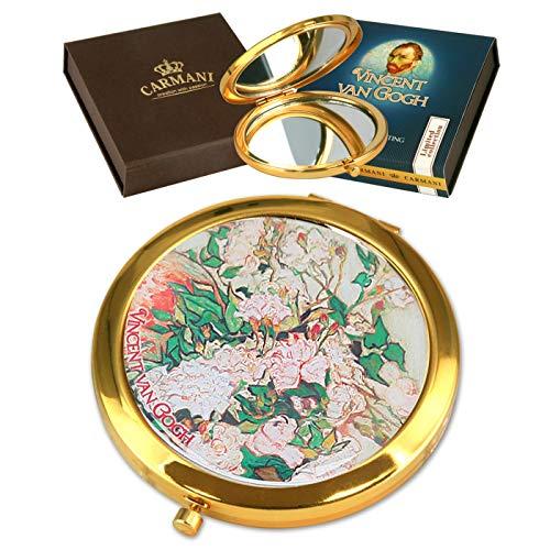 CARMANI - Poche en bronze plaqué or, compacte, voyage, miroir décoré avec peinture Van Gogh\