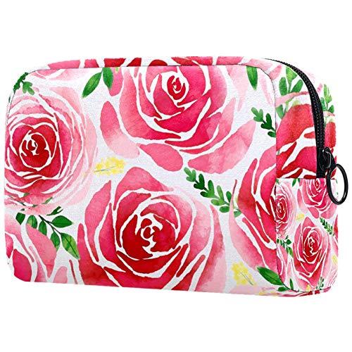 ATOMO Neceser de maquillaje de moda, neceser grande, organizador de maquillaje para mujer, floral rosa acuarela