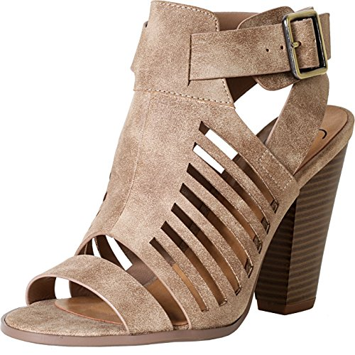 Soda Delicious Yummy Cutout Stacked Heel Sandal,Taupe Pu,7