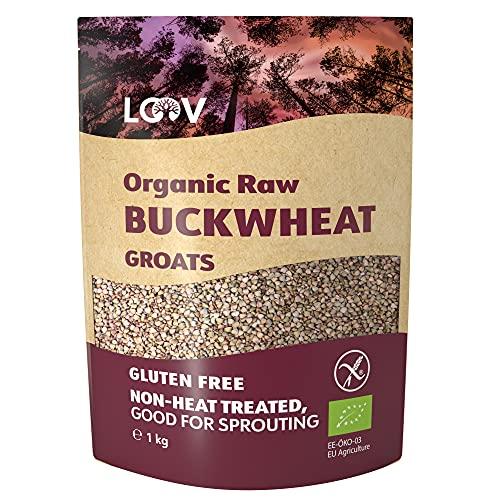 Granos de Trigo Sarraceno Orgánico sin gluten LOOV, 1 kg, crudos, no tratados térmicamente, conserva todos los nutrientes, sabor a nuez, buenos para germinación, cultivados en climas nórdicos, no OMG