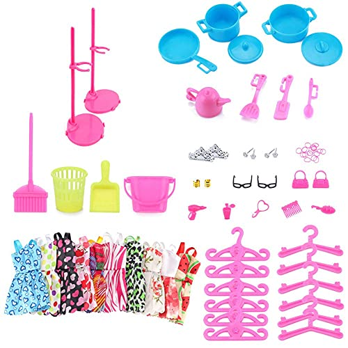 PAEFIU Ropa Accesorios para muñecas Barbie, 70 Piezas Ropa Accesorios para muñecas Barbie 10 Set Vestido, Ropa y Zapatos para Dolls Accesorios, Adecuado como Regalo para niñas.
