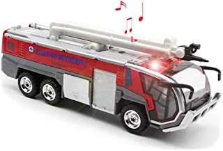 Ailejia Airport Diecast Fire Truck Engine Pullback Friction Toy Engineering Vehicle fire Truck Model (red)