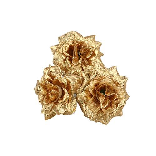 WINOMO 50pcs Rose en Soie Têtes de Fleur Artificiel Décoration pour Mariage Maison (Or)