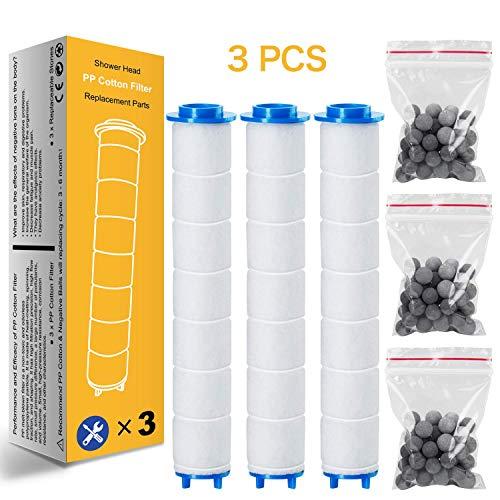 Duschkopf 3 PP Baumwolle Filter mit 3 Packs Kalk Filter Für Ionische Filter Infrarot-Mineral-Kugeln (Handbrause Sprühen Ionenfilter)