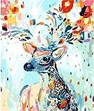 HitTopss DIY ölgemälde Malen Nach Zahlen-Vorgedruckt Leinwand-Ölgemälde Geschenk für Erwachsene Kinder Kits Home Haus Dekor, Blumen Rotwild 40x50 cm