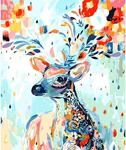 HitTopss DIY ölgemälde Malen Nach Zahlen-Vorgedruckt Leinwand-Ölgemälde Geschenk für Erwachsene Kinder Kits Home Haus Dekor, Blumen Rotwild 40x50 cm (Blumen Rotwild)