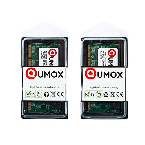 QUMOX 2GB (2x1GB) DDR SODIMM (200 pin) 333Mhz PC2700 Laptop-Speicher