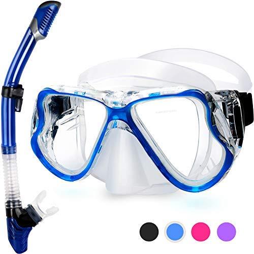 Fenvella Set Snorkeling, Anti-Fog Maschera Snorkeling con Panoramica a 180 Gradi e Boccaglio Snorkel, Kit Snorkeling Professionale per Adulti (Blu)