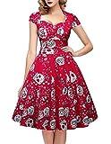 oten Women's Halloween Christmas Vintage Floral Sugar Skull Print Rockabilly Party Dress, Red,...