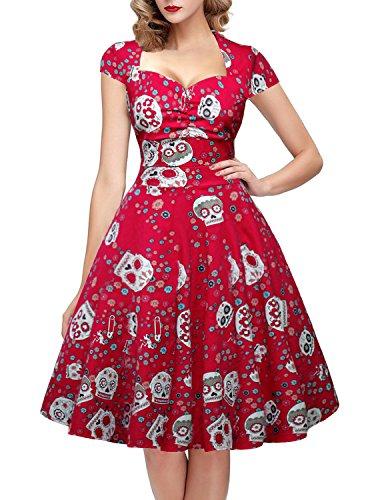 oten Vestido de Fiesta de Rockabilly del Estampado del cráneo del azúcar Floral de la Navidad de la Navidad Mujeres