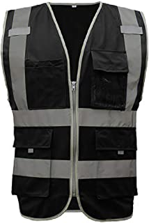 GOGO 9 Pockets High Visibility Zipper Front Safety Vest With Reflective Strips, Meets ANSI Standards-Black-L