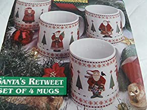 Vintage Debbie Mumm Christmas Mugs Santa's Retweet Set of 4 Featuring Santa with Birds in 4 Different scenes