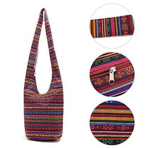SimpleLife Mujeres Sling Cross Body Bag Lona de algodón Hippie Bolsas de Hombro Slouch Cross Body Boho Hippy Fringe Monederos Bolso étnico Bolso de Viaje