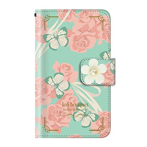 +S iPod touch 第5・第6・第7世代 手帳型ケース デコパーツ 花 リボン 蝶 ミントブーケ(白) PUレザー tmd0004-09