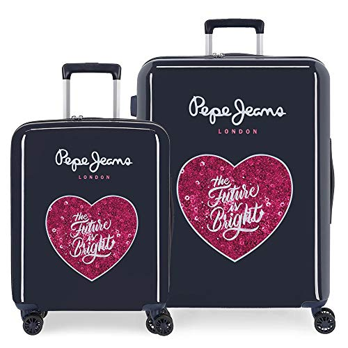 Pepe Jeans Bright Suitcase Set Blue 55/70 cm Rigid ABS Integrated TSA Lock 119.5L 7.1 kg 4 Double Wheels Hand Luggage