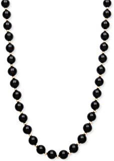 8MM Polished Black Onyx Gemstones & 14K Yellow Gold Beaded Endless Necklace For Women