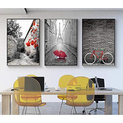 AKLIGSD Cuadros Lienzo de Pintura Calle en Blanco y Negro Rojo para la Cocina del Dormitorio de la Sala de Estar, 50cm X 70cm X 3pcs (sin Marco)
