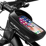 WeyTy Rahmentasche Fahrrad, Wasserdichter Oberrohrtasche Handytasche Fahrradtasche mit 6.5 Zoll TPU Touchscreen/Sonnenblende/Kopfhörerloch, Fahrrad Handyhalterung für Navi- und Entsperren während