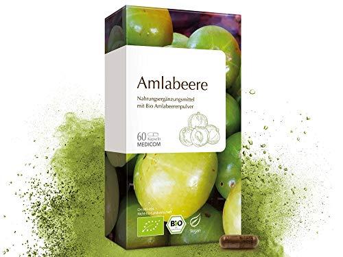 MEDICOM Bio Amlabeere - Hochwertige Amlabeerenkapseln mit natürlichem Vitamin C – 60 Kapseln - 100% Bioqualität – 500 mg Amlabeerenpulver pro Tagesdosis – Nur 1 Kapsel – 100% vegan