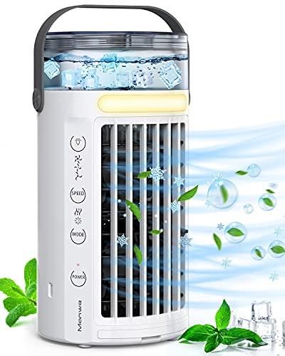 Aire Acondicionado Portatil, Manwe 5-EN-1 Enfriador de Aire Mini Air Cooler Portatil Silencioso Refrigerador de Aire, Humidificador Ventilador Purificador, 3 Velocidades 7 luces LED