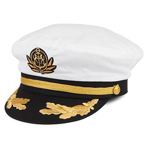 Village Hats Casquette de Capitaine Blanc Ajustable