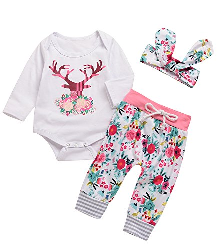 3PCs Baby Pink Reindeer Print Long Sleeves Romper Headband Pant Outfit Set (12-24M(Tag100), White&Pink)