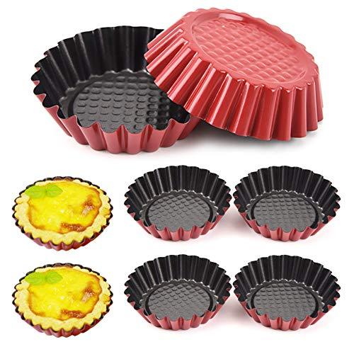 Torte Form Eier Kuchenform Wiederverwendbare Torteletts Törtchenformen Mini Tarteform Metall Cupcake Muffin Form Antihafte Mini Backform für Pudding,Kuchen,Muffin,Cupcake