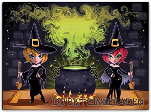 Hexen Einladungskarte Kinder Erwachsene Party Halloween Halloweenparty Hexe (10 Stück) gruselig Geburtstag Einladung Zauberin grusel Gruselparty