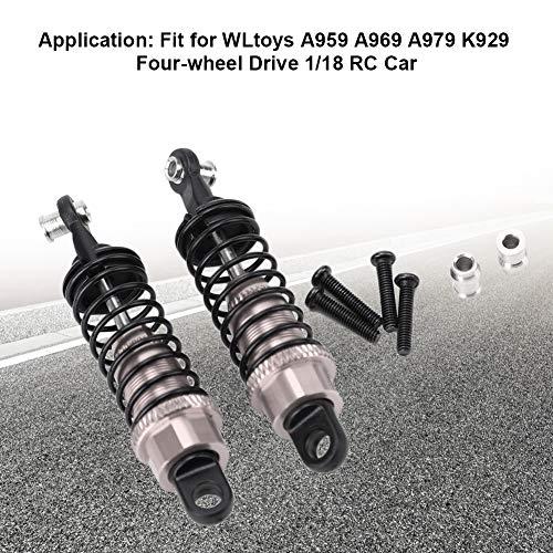 RC Stoßdämpfer, 2 Stück RC Metall Stoßdämpfer Dämpfer Upgrade Ersatz Kompatibel mit WLtoys A959 1/18 RC Car(Titan Farbe)