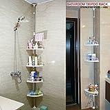 Crystals (R) 120cm-300cm 4 Tier Adjustable Stainless Telescopic Shower Corner Bathroom Shelf Rack Caddy - Heavy Duty