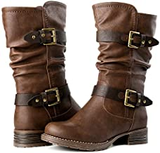 GLOBALWIN Women's 17YY10 Brown Mid Calf Fashion Boots 7.5M