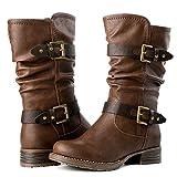 GLOBALWIN Women's 17YY10 Brown Mid Calf Fashion Boots 7M