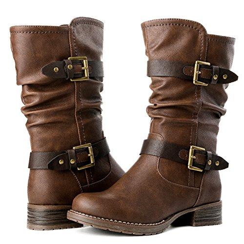 GLOBALWIN Women's 17YY10 Brown Mid Calf Fashion Boots 8.5M