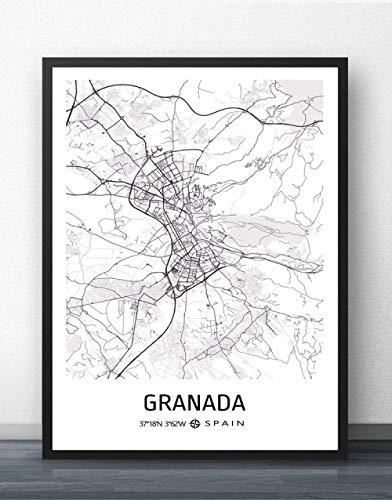 ZWXDMY Impresión De Lienzo,España Granada Mapa De La Ciudad Moderno