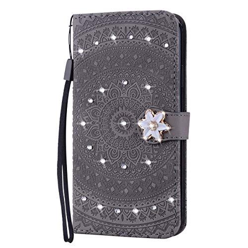 Tosim Galaxy S20+ (S20Plus) Hülle Klappbar Leder, Brieftasche Handyhülle Klapphülle mit Kartenhalter Stossfest Lederhülle für Samsung Galaxy S20 Plus - TOHME030438 Grau