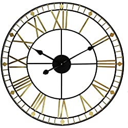 PJPPJH Large Skeleton Cut Out Black Gold Roman Numeral Wall Clock 60cm