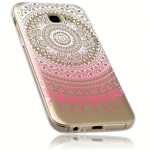 mumbi Funda Compatible con Samsung Galaxy A5 (2017) Caja del teléfono móvil Avec Motif Mandala, Rosa trransparente