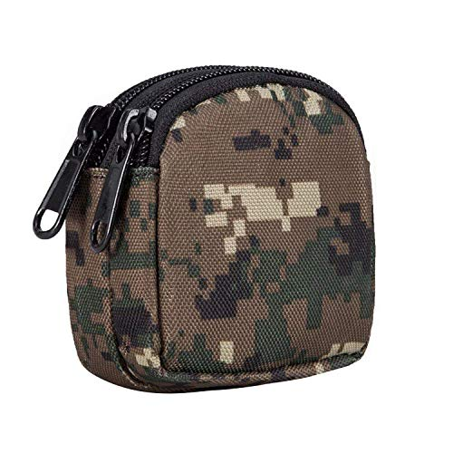 Huante Small Outdoor Pouch,Purse Organizer Molle Gear(Waterproof)(Dual Layer Pockets) Nylon EDC Utility Gadget Outdoor Waist Bag Cover for Change(Woodland Digital Camo)